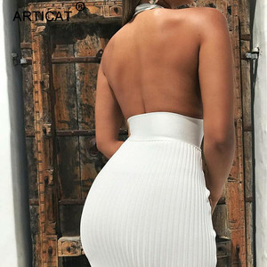Image 3 - Articat הלטר ללא משענת סקסי סרוג עיפרון שמלת נשים לבן כבוי כתף ארוך Bodycon מסיבת שמלה אלגנטית קיץ שמלת 2020