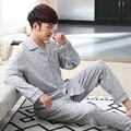 2017 Moda Marca Hombres Hombres Espesar ropa de Dormir de Algodón traje de pijama de Otoño turn-down collar shirts + pants homewear traje XXXL