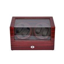 Смотреть Моталки, LT Деревянный Автоматический Поворот 4 + 0 Смотреть Winder Дисплей Окно Футляр Для Хранения (розово-красный-черный) с замок