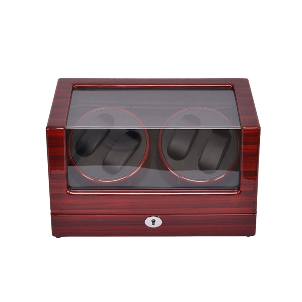 Watch Winder ,LT Wooden Automatic Rotation 4+0 Watch Winder Storage Case Display Box (rose red-black) with lock watch winder lt wooden automatic rotation 2 0 watch winder storage case display box outside is rose red and inside is white