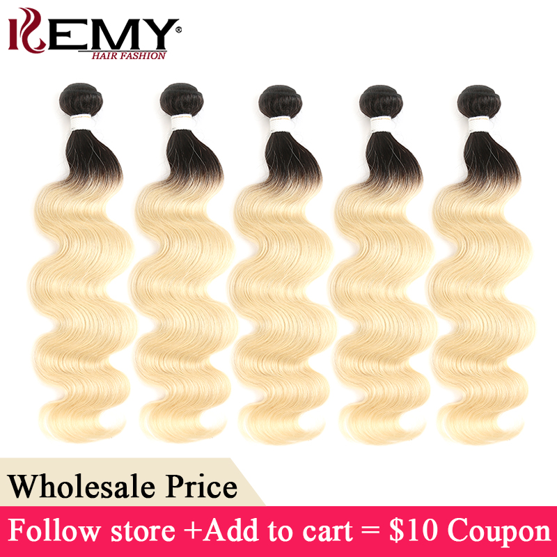 Body Wave Human Hair Bundles For Wholesale Price KEMY HAIR 8-26 Inch Ombre Blonde Brazilian Remy Hair Extension Fast Shipping(China)