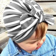 eee2458f3 1 PC New Fashion European Baby Hat Colorful Striped Beanie Knot Tie Rabbit  Ear Elastic Turban