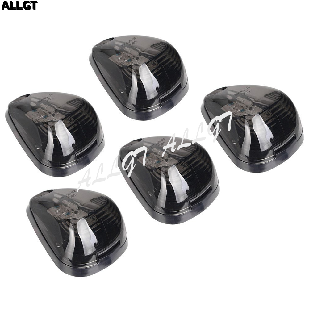 ALLGT Smoked 5pcs 9 LEDs Cab Roof Running Marker Lights w/ Switch Truck For SUV Off Road
