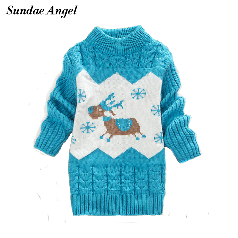 Sundae Angel Girls winter sweaters O-Neck Collar Long Sleeve Deer Pattern Winter Thicken For Kids Baby Boys Sweaters Children round neck stripe embellished long sleeve loose fitting thicken sweatshirt for men