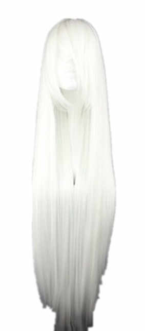 Fei-Show White Wig 100 CM/40 Inches Long Hairpiece Synthetic Heat Resistant Fiber Hair Salon Party Cartoon Cosplay Straight Hair