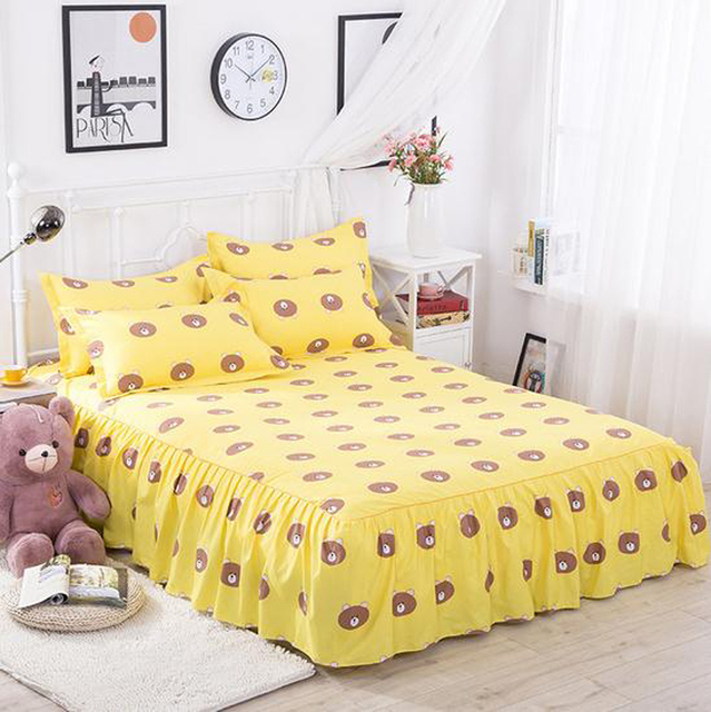 Yellow Bear Bed Skirt With Elastic Bandage Bedspread Bedclothes For