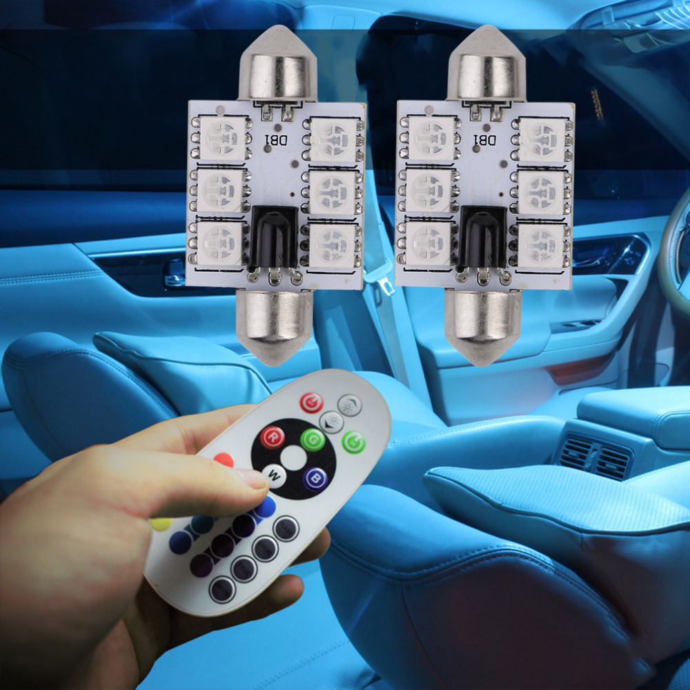 2PCS RGB Car Reading Light 39MM Dome C5W Led 12V LED SMD 5050 Interior Bulbs Car Light Source With Remote Controller Hot Sale