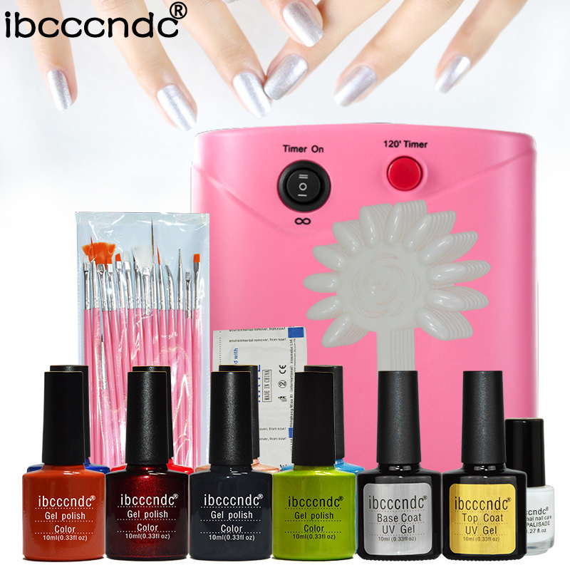 Cnd nail dryer promotion shop for promotional cnd nail dryer on pro 8 colors manicure nail art set 36w uv lamp dryer uv gel polishes nail brushes false nail tips files manicure tools kit prinsesfo Image collections