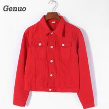 Women Basic Coats summer Autumn Denim Jacket red pink black denim jacket Female Jeans Coat Casual Girls Outwear laides