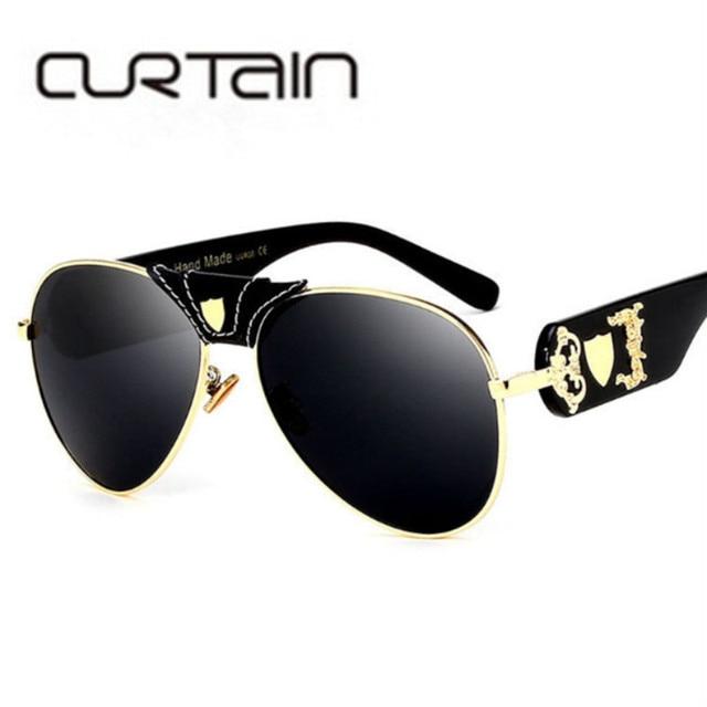 d578f04036b896 2019 luxus Marke Designer Frauen Spiegel sonnenbrille Neue Mode  Sonnenbrillen Metall Leder Dekoration Rahmen Männer UV400