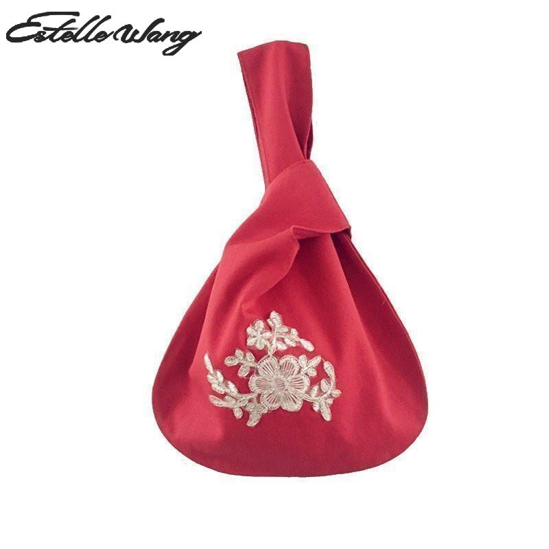 2018 Estelle Wang Casual Tote Frauen Leinwand Rot Gestickten Wristlets Tasche Tuch Japan Handtasche Mode Kleine Blume Handtasche