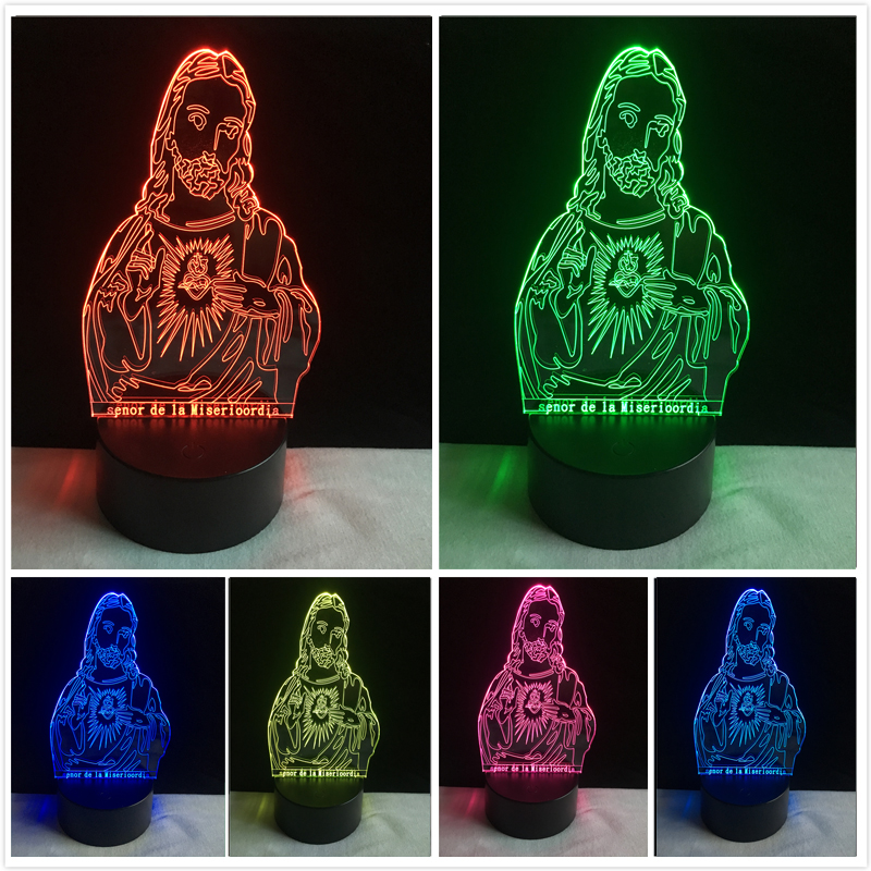 New Arrivals 3D Optical Illusion Jesus Christ Jehovah 7 Color Change LED Table Desk Lamp Bulbing Night Light Gifts Dropshipping цена