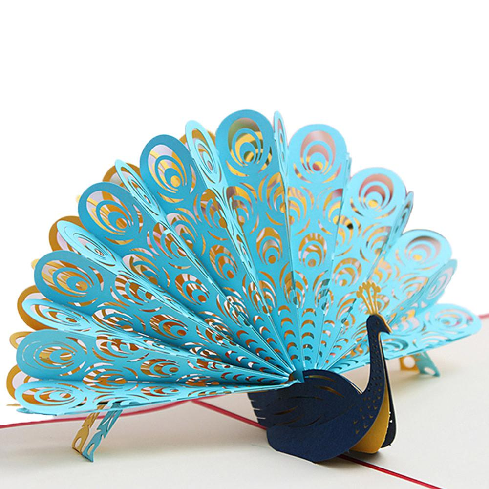 Beautiful Invitation Card 3D Innovative Greeting Card Peacock Style Multi-color Optional Invitation Card Greeting Card