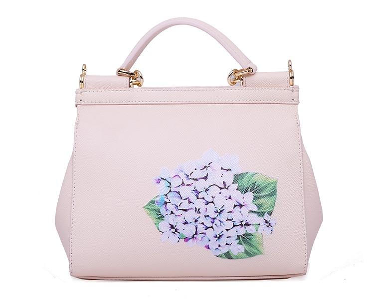 Luxury Designer Inspired Women Handbag Real Leather Embellishments Hydrangea Printed Mini Leather Shoulder Bag (9)
