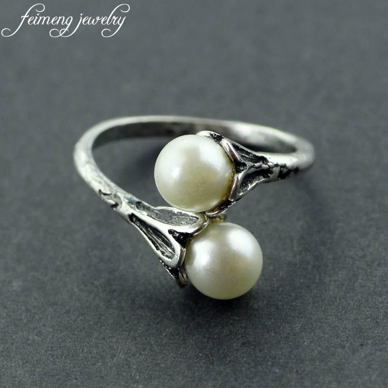 Adjustable Game of Thrones rings Daenerys Targaryen two Simulated Pearl White Rings For Women Charm Lovely gifts Fashion Jewelry(China)
