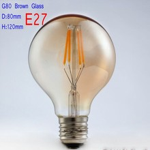LED Bulb Edison Light Vintage Bubble Ball BUlb Gold Tint E27 2W 4W 6W 8W Led Lamp Energy Saving Lights Super warm 2200K,Dimmable