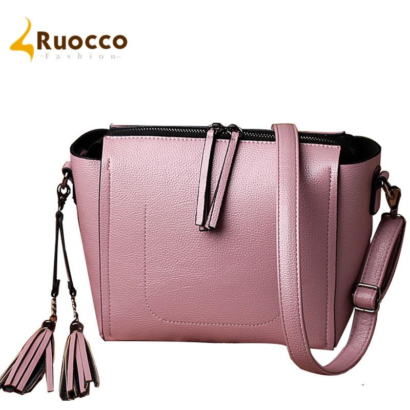Ruocco Leather Messenger Bag Ladies Crossbody Fashion Tassel Women Bags Handbags 2017 Casual Small Shoulder Sac a Main