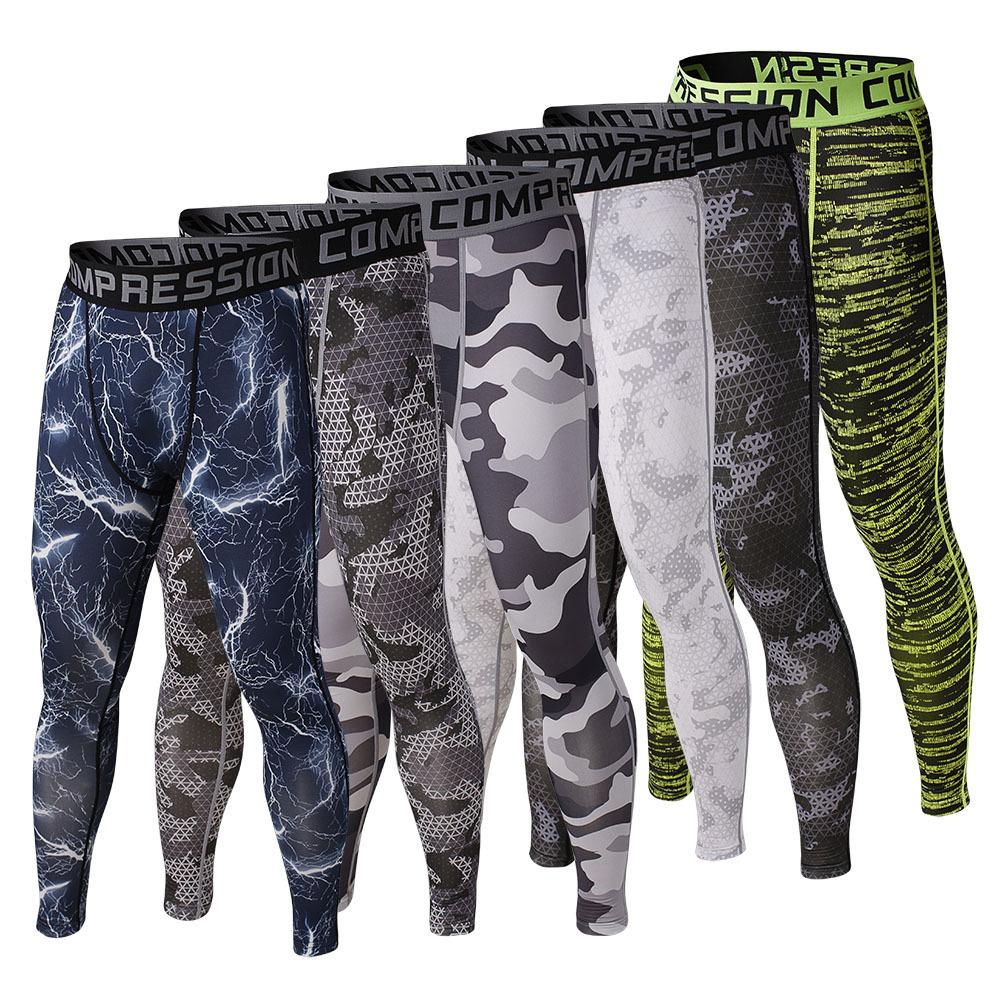 Mens Compression Long Pants Camo Pattern Stylish for Running Basketball Tights