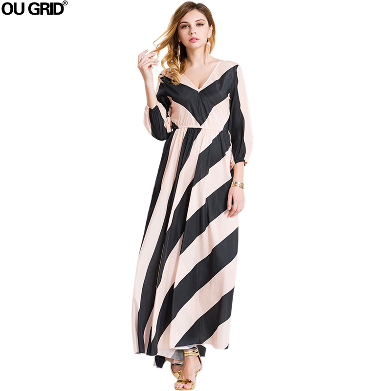 Wanita Chiffon Dress Pendatang Baru Jauh V-neck Lengan Panjang Musim - Pakaian Wanita - Foto 1