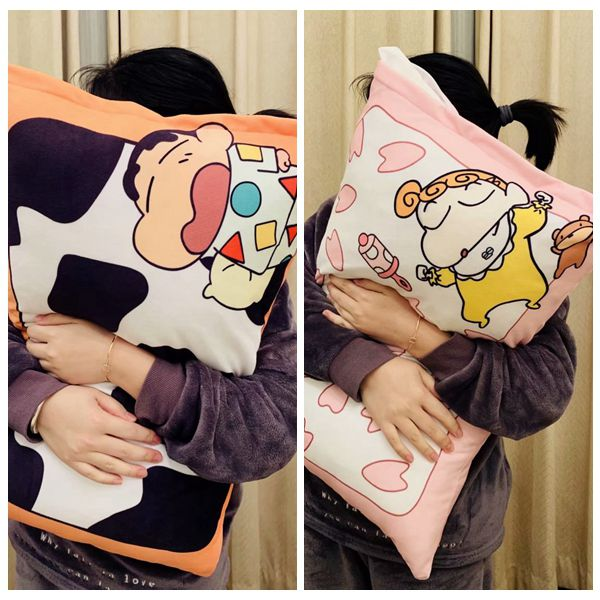 Candice Guo! Cute Plush Toy Lovely Cartoon Crayon Shin Chan Nohara Himawari Soft Printing Pillowcase Birthday Christmas Gift 1pc