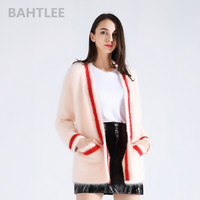 BAHTLEE 2018 winter women's angora cardigans knitting sweater mink cashmere long sleeve looser v neck pockets keep warm