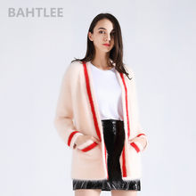 BAHTLEE 2018 winter women's angora cardigans knitting sweater mink cashmere long sleeve looser v-neck pockets keep warm(China)