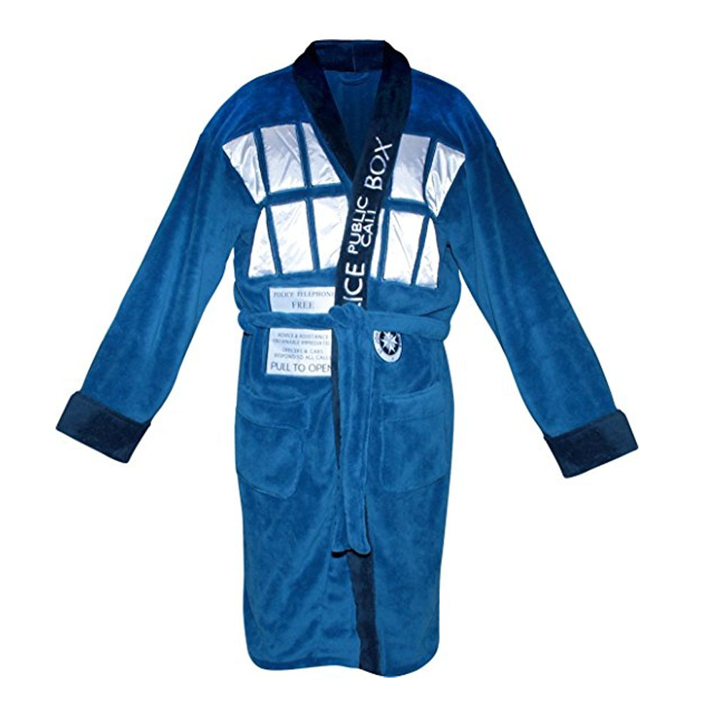 Doctor Who Blue Tardis Bathrobe Mens Robe Fleece and Cotton Costume Towel With Hood One Size