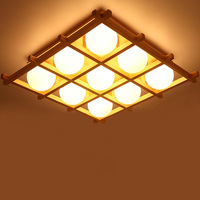 Japanese tatami LED square Chinese wood ceiling lamps warm living room lights Nordic creative dining lamp bedroom lamp YA7266