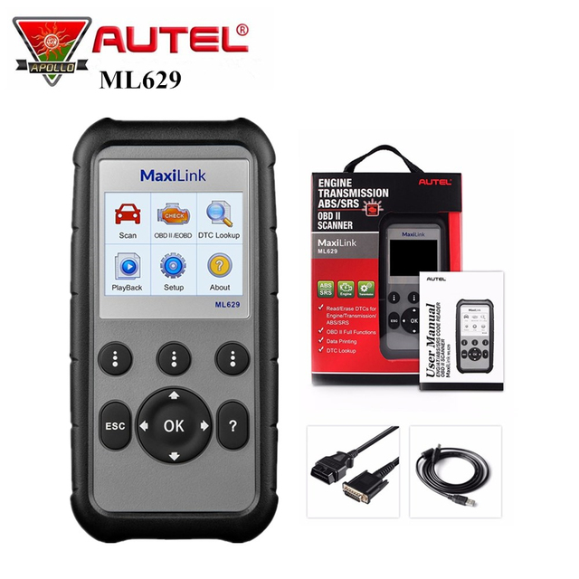 Autel MaxiLink ML629 Car Diagnostic Tool OBD2 Scanner for Engine Transmission ABS SRS Full OBD2 Code Reader Upgrade ML619 AL619