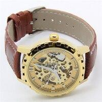 Ross людей авто механик часы шэньхуа бренд свободного покроя весы наручные часы коричневый клетку мужчины золото автоматический часы + подарок коробка
