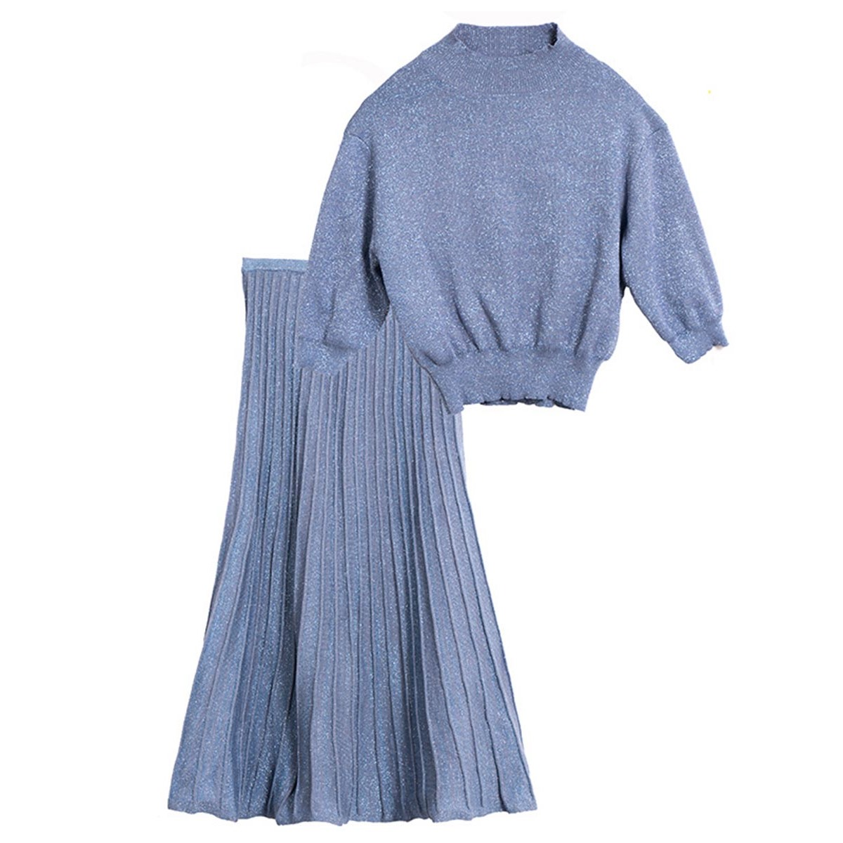 Women Sweater Skirts Suit Set Blue Elegant Pleated Midi Skirts Pullover Knitwear Tops Female Knitted Casual Suit Set