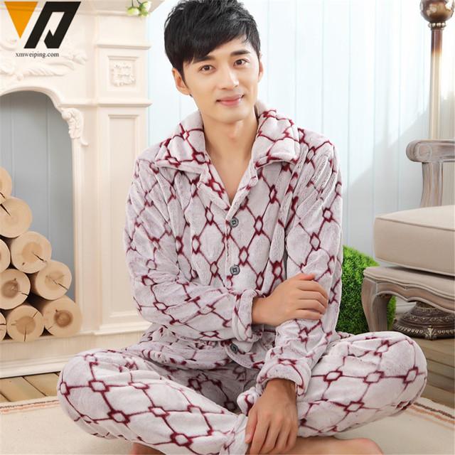 El juego camisa de dormir hombres franela pijamas Set señores de manga larga espesar Casual hogar ropa de dormir