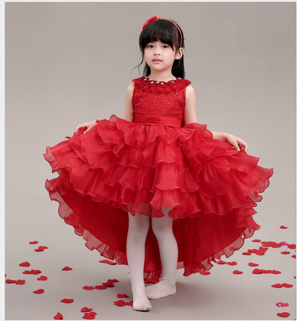 325ac3ed0 Luxury Red Beaded Flower Girl Dresses For Weddings Elegant Trailing Ball Gown  Girls Princess Dress Kids Evening Wedding Gowns