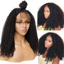 Alibele Hair Mogolian Afro Kinky Curly Lace Front Human Hair Wigs For Black Women Remy Hair Lace Front Wig 150 Density 10-22(China)