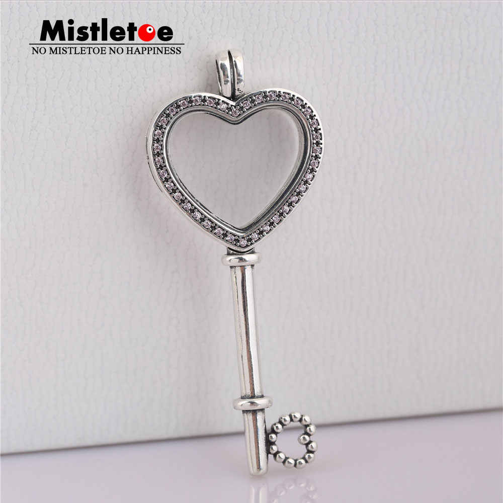 Mistletoe Authentic 925 Sterling Silver Large Floating Locket Heart Key, Sapphires Crystal & Fancy Fit European Necklace Jewelry