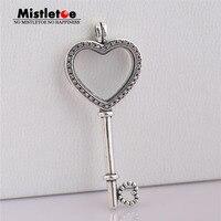 Mistletoe Authentic 925 Sterling Silver Large Floating Locket Heart Key, Sapphires Crystal & Fancy Fit European Necklace Jewelry