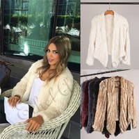 ETHEL ANDERSON Lady Real Rabbit Fur Knitted Coat Jacket Unique Gift Irregular Collar Top Highly Recommend Short Cardigan