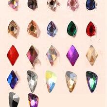 Аааааа, дизайн ногтей Стразы 50 шт./упак. кристально-прозрачный AB плоской формы различных типов, Каплевидная форма, Стекло камни для 3D ногти Decora