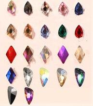 AAAAAA Nail Art dżetów 50 sztuk/paczka wyczyść i kryształ AB w kształcie płaskim różne rodzaje łzy szklane kamienie do paznokci 3D Decora