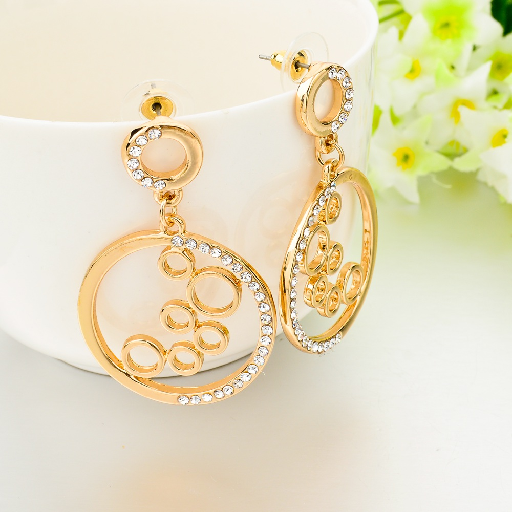 2017 Gold Round Earrings For Women Rhinestone Korean Fashion Earing Brincos Vintage Jewelry Ser150092 In Stud From