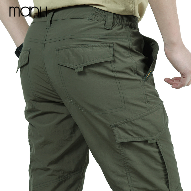 MANLI 4XL Men's Summer Quick Dry Pants Outdoor Sports Camping Riding Hiking Tactical Pants Army Green Trekking Fishing Sport Tro
