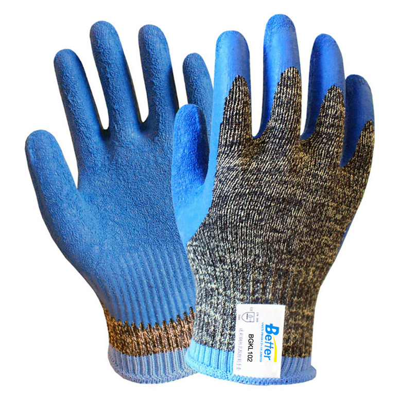 Aramid Fiber cut proof work glove Steel Gloves Latex Coated EN388 5 Grade Anti Cut safey gloves цены онлайн