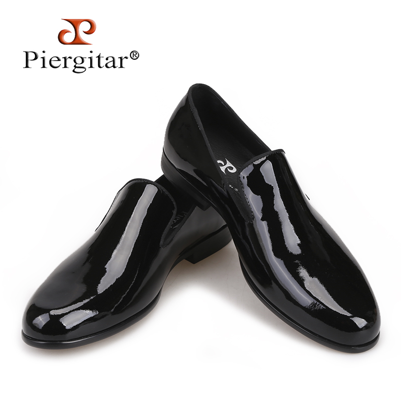 Piergitar 2018 New arrival Handmade Black Patent leather men shoes luxurious party and wedding men's dress shoes men loafers 2018 new arrival men black genuine leather shoes party and wedding men dress shoes luxurious handmade men loafers male s flats