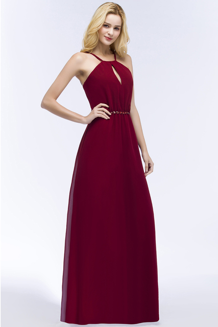 24 Hours Shipping Crystals Belt Burgundy Prom Dresses Long Vestido De Festa Sexy Backless Halter Neck Evening Party Dresses 3