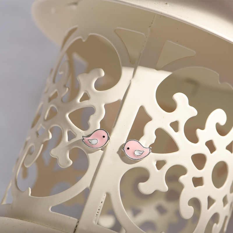 Lidavi 925 เงินหวานน่ารักสีชมพูนกสตั๊ดต่างหูสำหรับเด็กหญิงน่ารักสัตว์เครื่องประดับสำหรับของขวัญผู้หญิง VES6204