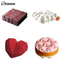 SHENHONG New 4PCS/Set Cake Mold For Baking Dessert Mousse POP Silicone Decorating Mould Heart Cloud Silikonowe Moule Pastry Pan
