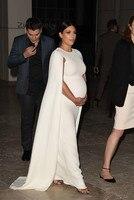 Kim Kardashian Celebrity Evening Dress With Caped Round Neck Pregnant Women Dubai Arabic Party Gowns White Turkey Evening Dress