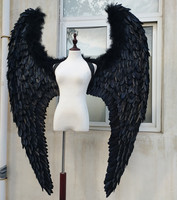 EMS Free shipping New style black white angel wings catwalk stage show props festival fairy wings Window display props