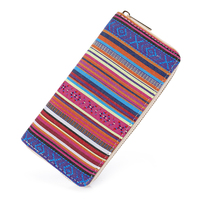 Sansarya 2017 Tribal Jacquard Woven Pink Long Women Wallet Boho Ladies Card Holder Aztec Female Purse