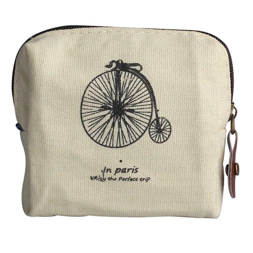 Aelicy Vintage clásico mujer hombre lona monedero Zip cartera pequeña Mini BOLSA funda cartuchera Retro bolsas de dinero regalo